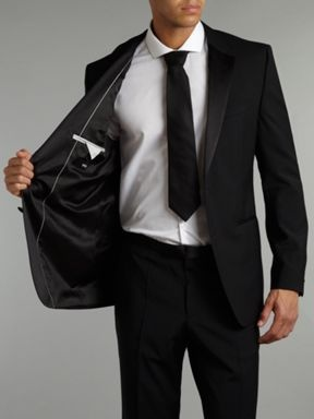 Hugo Boss Single breasted sheen with taped edge lapel suit Black - House of Fraser