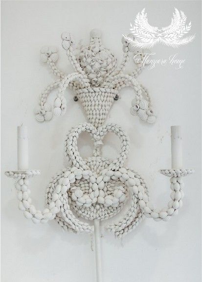 Hand crafted White natural Shell Wall Sconce...