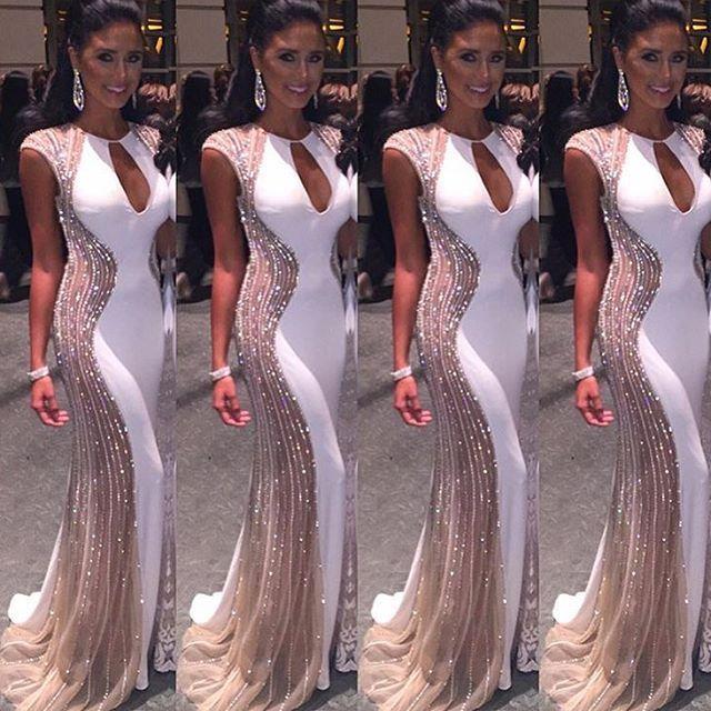 2016 Sexy Prom vestidos de New chegada de luxo Bling contas cristais sereia branco longo Formal vestido de festa vestidos de bal