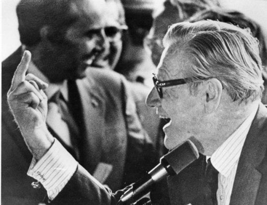 Vice President Nelson Rockefeller Flipping The Bird to Protesters in 1976