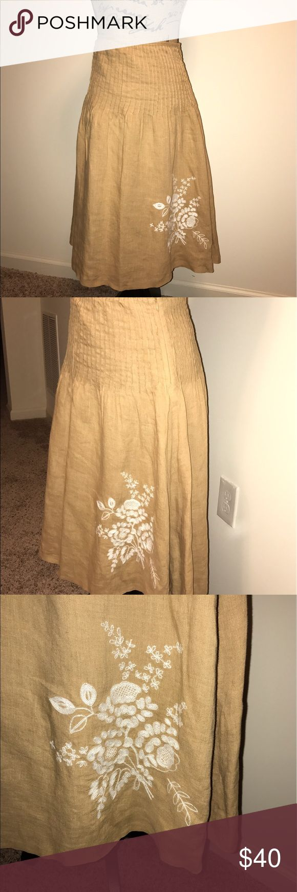 Tommy Hilfiger Linen Skirt. Beautiful tan Tommy Hilfiger skirt with classic white floral embroidery design detail. Tommy Hilfiger Skirts Midi