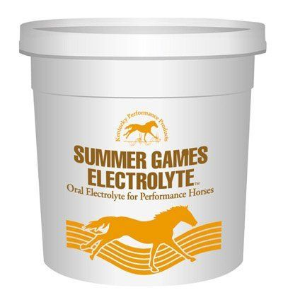 Summer Games Electrolye Supplement For Horses by Kentucky Performance Prod. $16.40. Summer Games is a dietary electrolyte and trace mineral supplement for performance horses. To use, Mix Summer Games Electrolyte with Daily Grain Ration. Product contains Salt, Potassium Chloride, Dicalcium Phosphate, Magnesium Oxide, Dextrose, Iron Proteinate, Zinc Proteinate, Copper Proteinate, Manganese Proteinate, Natural and Artificial Flavors, and Yellow Fd&C #6 Aluminum Lake.