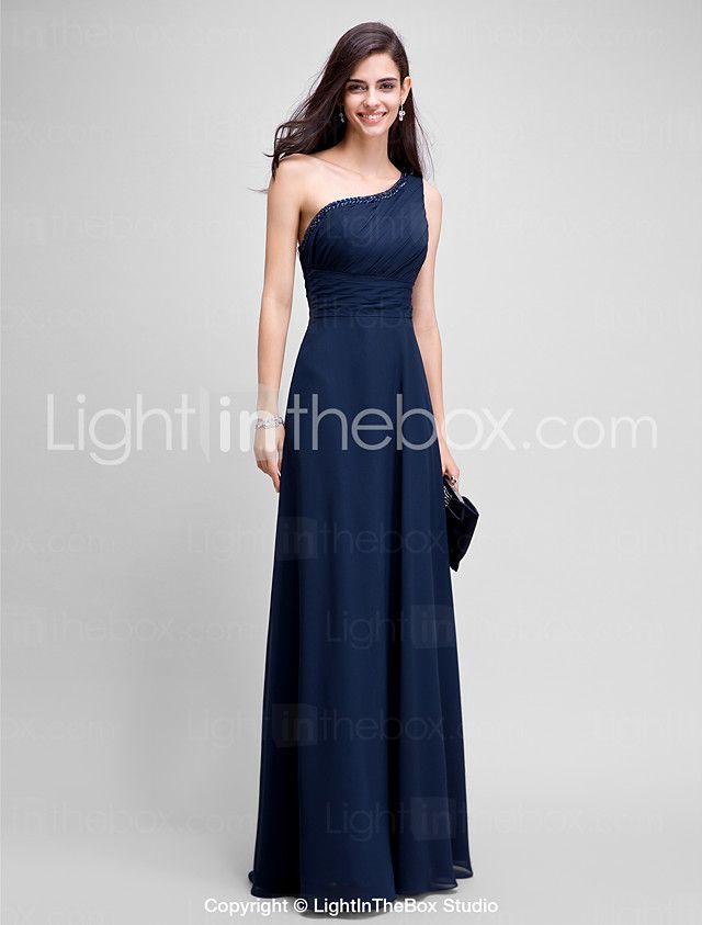 2017 ts couture® formales Abendkleid Mantel / Spalte einer Schulter bodenlangen Chiffon mit Perlen 2016 - €83.29