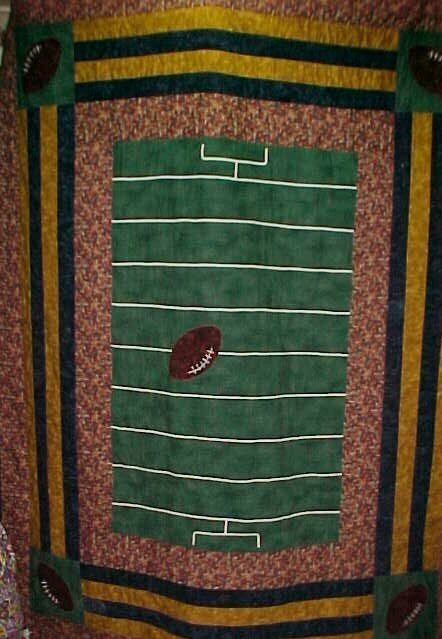 football quilt - with a block H in the middle???                                                                                                                                                                                 More