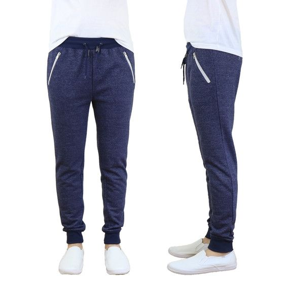 Men's French-Terry Slim-Fit Joggers with Zipper Pockets