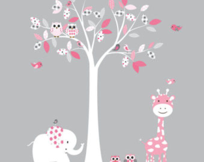 Vinile parete decalcomania Nursery Wall Decal rosa Baby albero con animali vinile adesivi murali