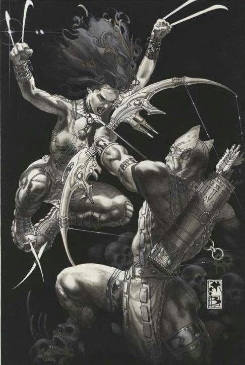 X-23 vs. Hawkeye by Simone Bianchi