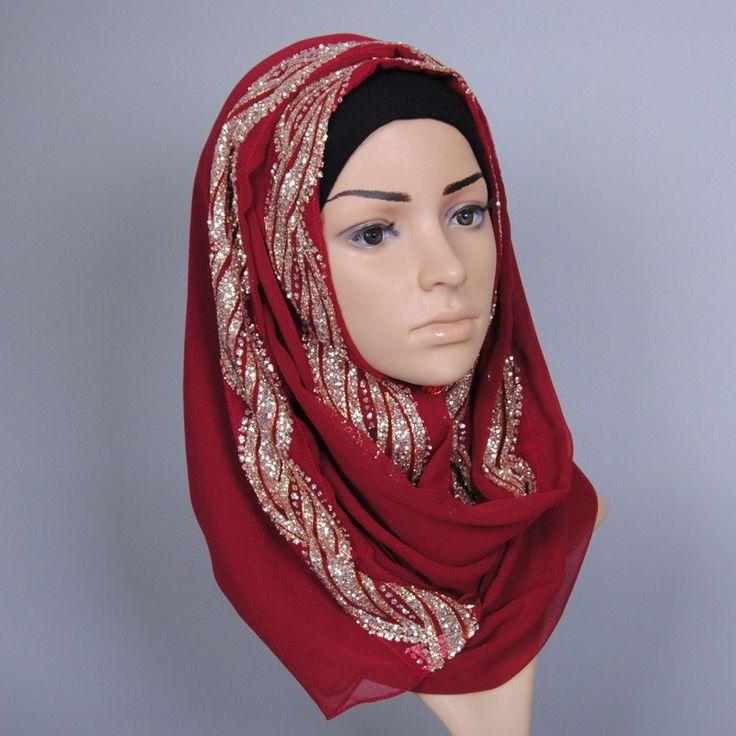 New Fashion rimmed Muslim Hijab Scarf Islamic Shawls Wrap Shinny Wave Print Scarf Wholesale Scarves