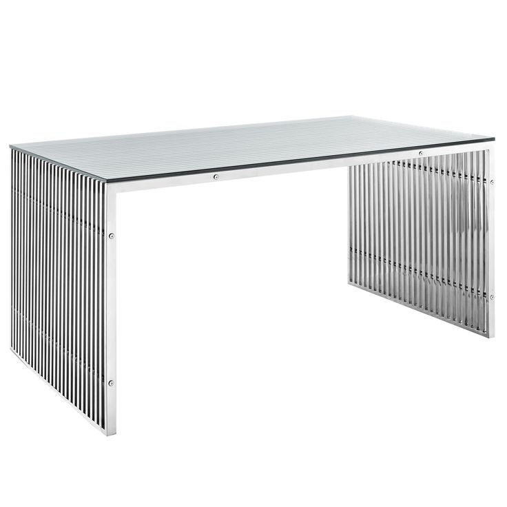 Gridiron Stainless Steel Dining Table EEI-1433-SLV by LexMod