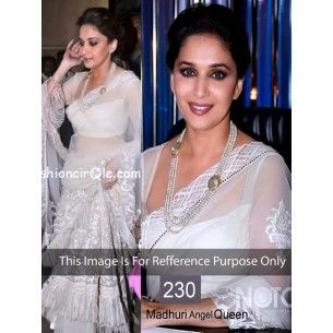 #Designer #Madhuri Dixit Bollywood Replica Saree Shop now : http://www.valehri.com/indian-replica-ethnic-madhuri-white-net-saree-1778