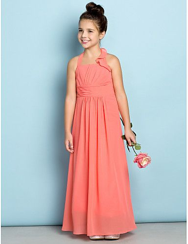 Sheath / Column Halter Ankle Length Chiffon Junior Bridesmaid Dress with Side Draping by LAN TING BRIDE®