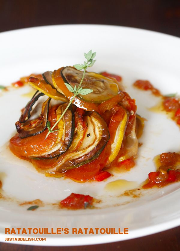 Ratatouille's Ratatouille (Thomas Keller's Confit Byaldi) This is oh so good! And it is generally how I cook eggplant, however, for my husband I use some marinara sauce instead of tomato slices. I could make a meal of this!