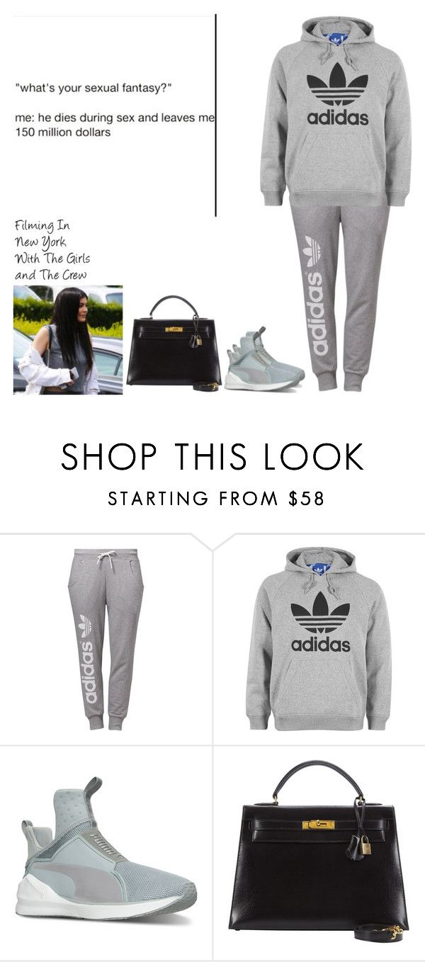 """""""Filming In New York With The Girls and The Crew"""" by britneygeminigirl ❤ liked on Polyvore featuring adidas Originals, adidas, Puma, Hermès and mood"""