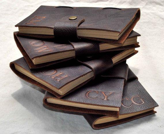 Vintage lederen dagboek gepersonaliseerde Groomsmen door CoverCafe