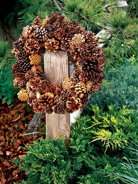 Pine one Wreath- on an 18-inch twig base. Wrap a 9-inch length of 22- or 24-gauge florist's wire around the top of the base to create a hanger; loop a 3-inch length of wire through the 9-inch length; twist ends together. With a glue gun, attach the pinecones (we used about 120), starting with the inside. Repeat on the outside of the base, then the front.