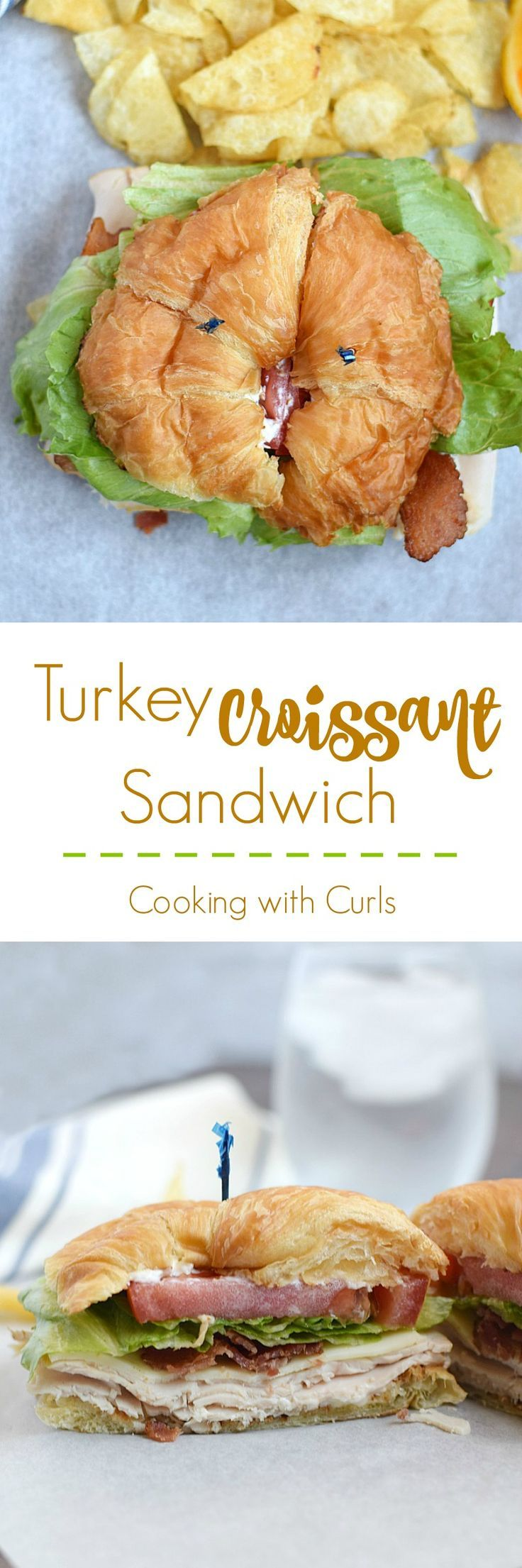A delicious Turkey Croissant Sandwich is perfect way to use up leftover turkey, or use deli  meat for a quick meal
