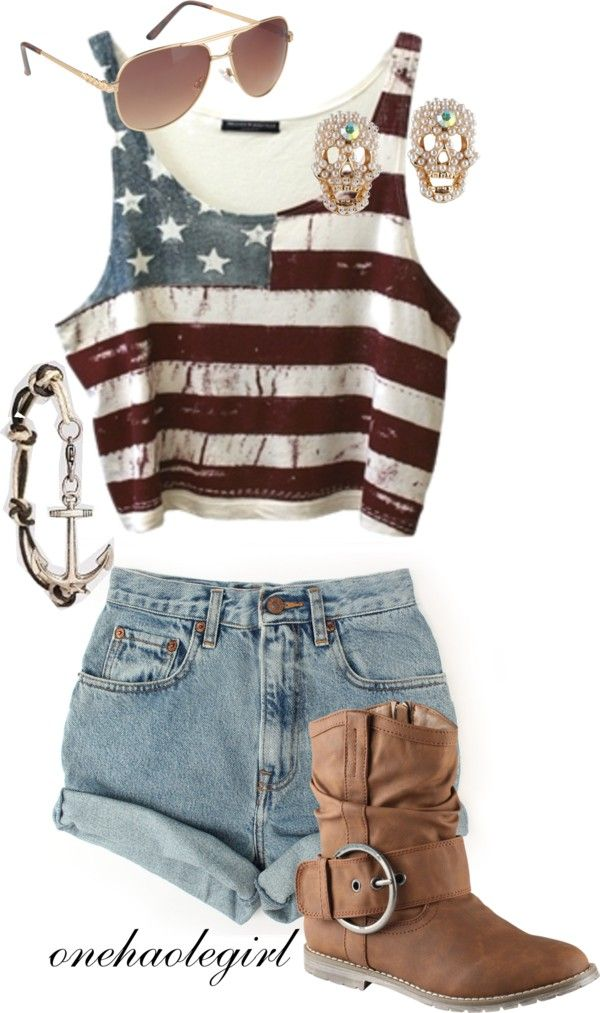 Perfect 4th of July outfit. Minus the damn boots. I even have the earrings