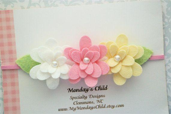 Felt Flower Headband Felt Flower Garland by MyMondaysChild on Etsy