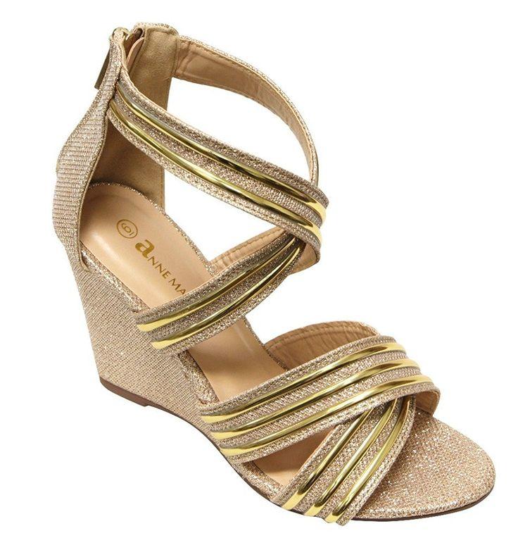 934e3b6cebb7 Anne Marie Soho-38 Women s open toe crossing straps zip closure glitter wedge  sandals -