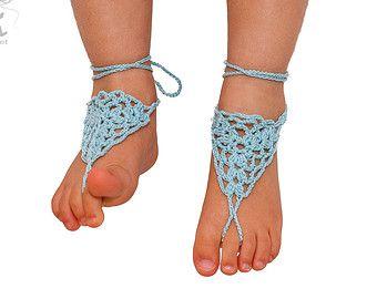 Blanco con cuentas novia Crochet sandalias Descalzas joyería