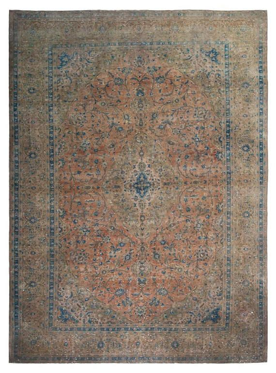 WELCOME MY FRIEND:) FEEL FREE TO CHECK MY LOVELY RUGS. HERE IS DESCRIPTION OF UNIQUE ONE OF a KIND HANDMADE RUG Hand Knotted, Hand Made, Persian Vintage Area Rug. 100% hand knotted in Persia. Wool pile, cotton warp & weft. All natural fiber. over 50 years age. Muted, Distressed pile.
