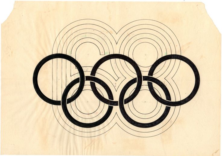 compass sketch for the 1968 mexico olympics logo