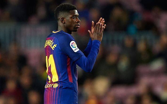 Download wallpapers Ousmane Dembele, French footballer, Barcelona, Catalonia, football, 4k, La Liga, Spain