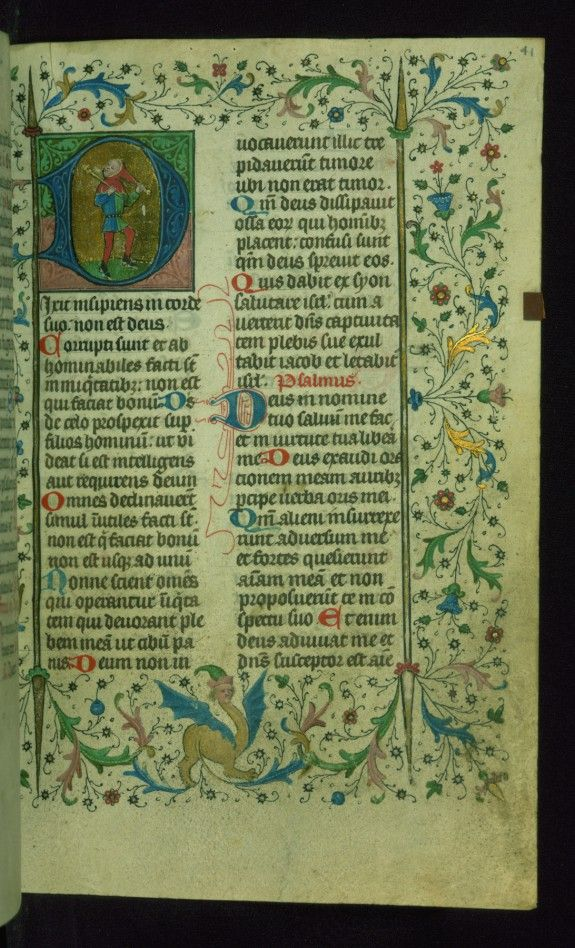 Leaf from Breviary: Psalm 52 Initial D with the Fool This small breviary composed of more than 500 folios is extraordinary for its length considering it is the summer portion of a two-volume breviary for the use of Liège. The manuscript was completed for ecclesiastical use at the Cathedral of Notre-Dame and St.-Lambert in Liège ca. 1420. This attribution is suggested for instance by the petitions to the congregation of this cathedral (fols. 114v-117v) as well as the armorial shield of the…