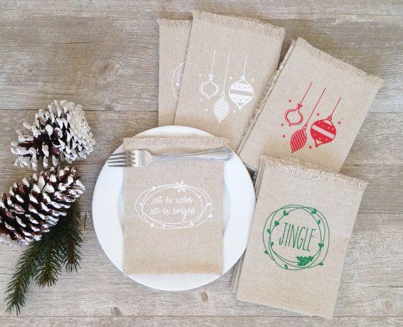 Christmas Napkins Mix and Match Cloth Christmas by KitchStudios
