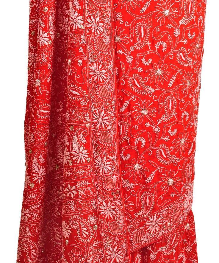 Intricate Red Chikankari and kamdaani Saree