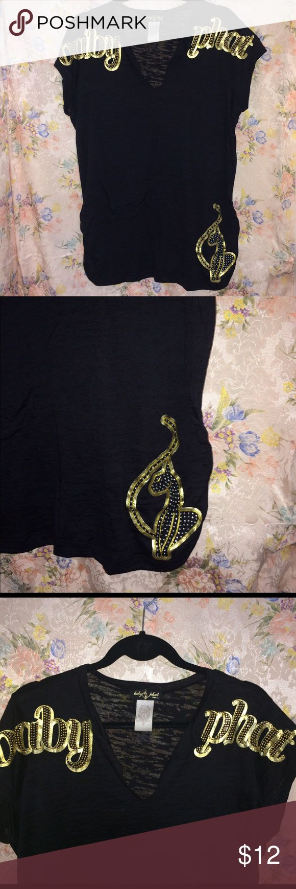 Baby phat black T shirt with gold design. Baby phat black T shirt with gold design. Worn once. Size 1X. Baby Phat Tops Tees - Short Sleeve