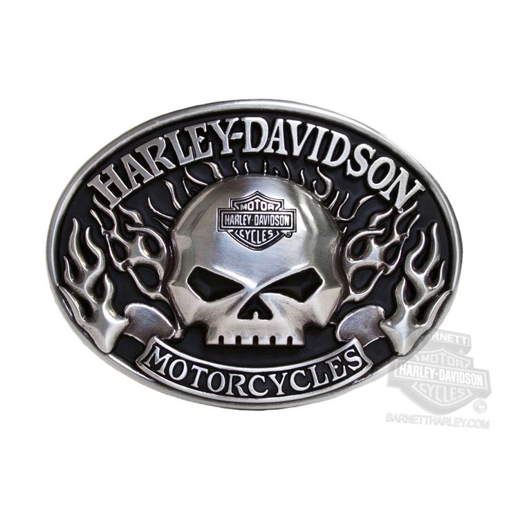 Harley-Davidson® | HDMBU10409 | Harley-Davidson® Mens Immunity Willie G Skull with Flames Silver Buckle by LODIS