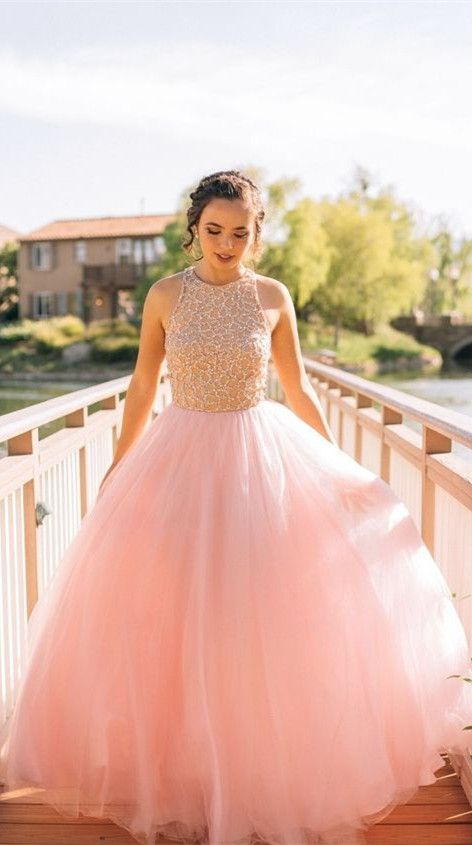Puffy Pink prom dresses 2017,new Beaded prom dress Long Elegant Tulle Sleeveless Prom Dresses