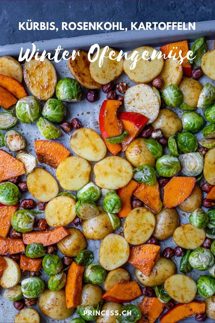 Ofengemüse vom Blech mit Kürbis, Kartoffeln & Rosenkohl