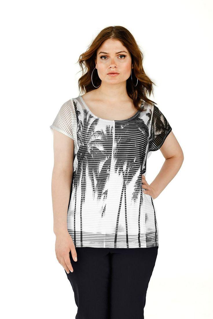 Typ , T-Shirt,  Materialzusammensetzung , 100% Polyester / 95% Viskose, 5% Elasthan,  Ausschnitt , Rundhalsausschnitt,  Ärmelstil , überschnittene Ärmel,  Optik , Ausbrenner-Look mit Palmen-Druck,  Gesamtlänge , größenangepasste Länge 72-80cm,  Ärmellänge , kurzarm,   ...