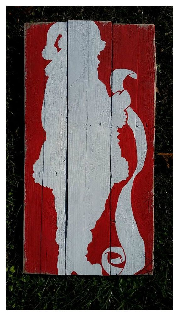 Santa Claus Pallet Sign/ Santa Checking his by PrimitivePaintings