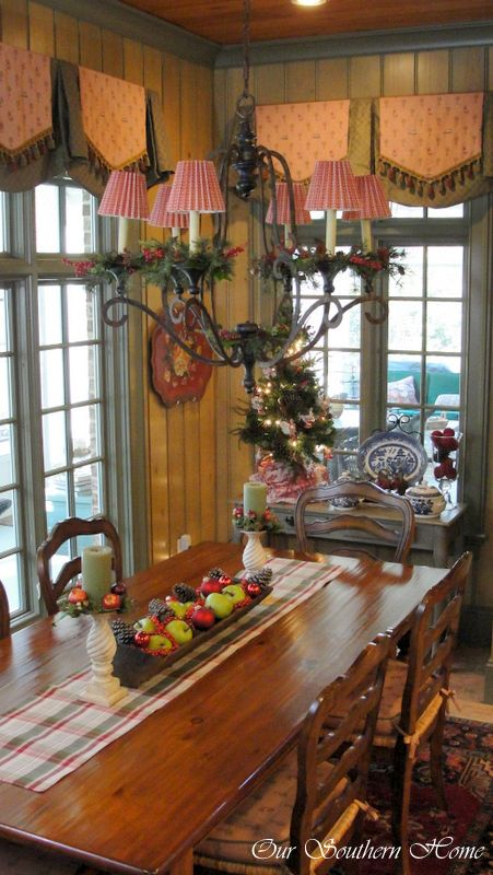 Christmas Home Tour {Downstairs} more beauty from Our Southern Home! Love the window treatment.