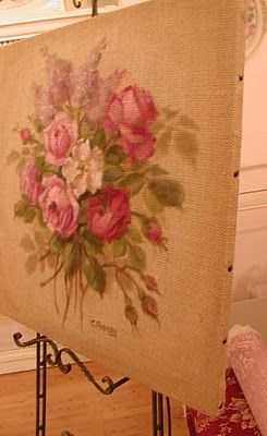 Yay I love to stencil - this is a great idea!!! painting on burlap-so gorgeous