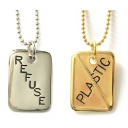 Your purchase of these elegant gold or silver necklaces supports the work of the Plastic Pollution Coalition to reduce plastic pollution and its toxic impacts.