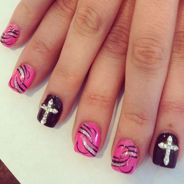 cross fingernails | Rhinestone Cross Nails Design | Flickr - Photo Sharing!