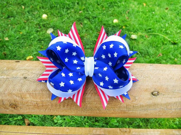 Alligator clip set for baby girl Patriotic hairbow pair Scrunchies with blue hair bow Large bow hair tie lot Little girl hair band holder by VDaccessoriesShop on Etsy