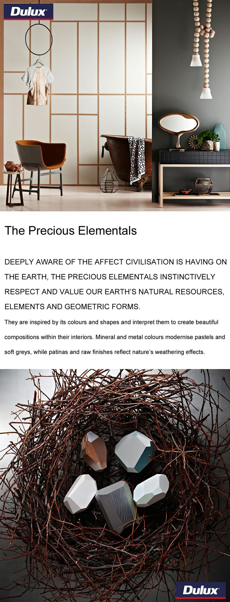 """The Precious Elementals"" colour forecast from Dulux for 2014.   www.lahood.co.nz"
