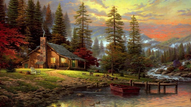 """In the Woods"" by Thomas Kinkade 4/4/14:"