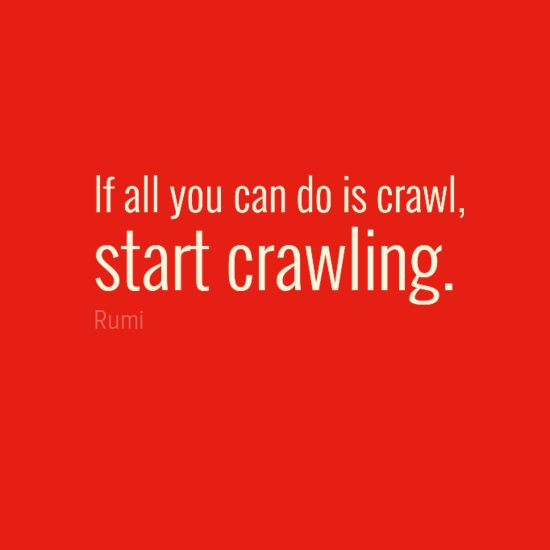 "Whatever the obstacle, don't give up! ""If all you can do is crawl, start crawling."" - Rumi"