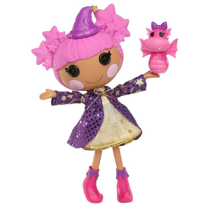 The Lalaloopsy were once rag dolls who magically came to life when their very last stitch was sewn. They live in a whimsical world full of silly surprises. Each Lalaloopsy has a unique personality that comes from the material from which they were sewn. Star Magic Spells was sewn from a Wizard's hat. She loves to cast magic spells. Sometimes she waves her wand at her pet dragon turning her into a frog, which her pet dragon doesn't think is all that funny.