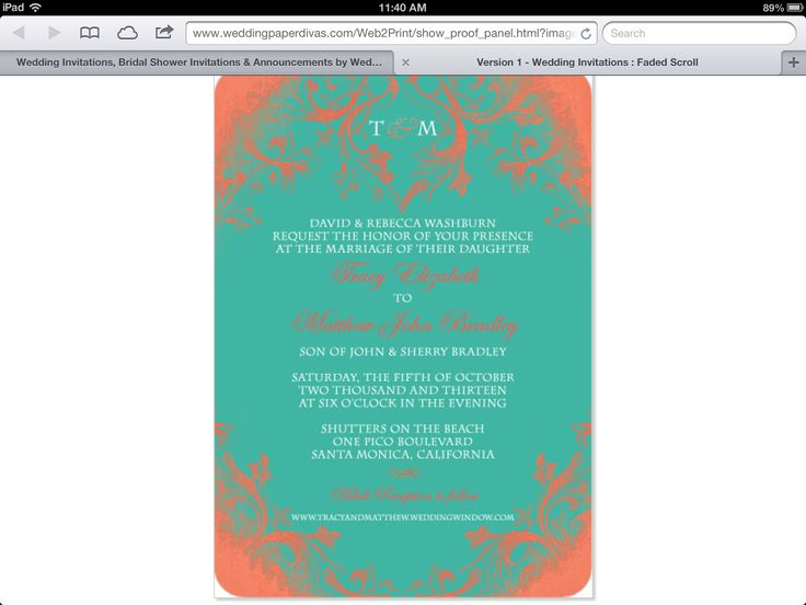 Amazing Coral and teal wedding invitations
