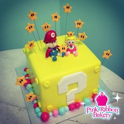 Baby Mario And Princess Peach Gender Reveal Cake Pink