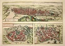 Rouen, Normandy/ Nimes/  City of Bourdeaux in Aquitaine: Antiques Maps, York Cities, Ancient Maps
