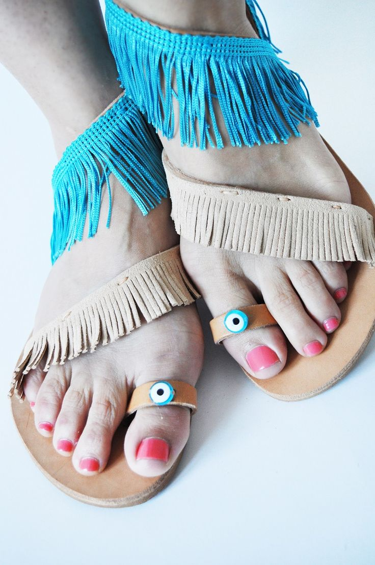 High quality handmade Greek leather strap sandals with beige suede and turquoise fringes.