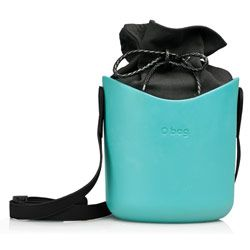 O Basket - Turquoise with Black Faux Strap and Black Canvas Insert